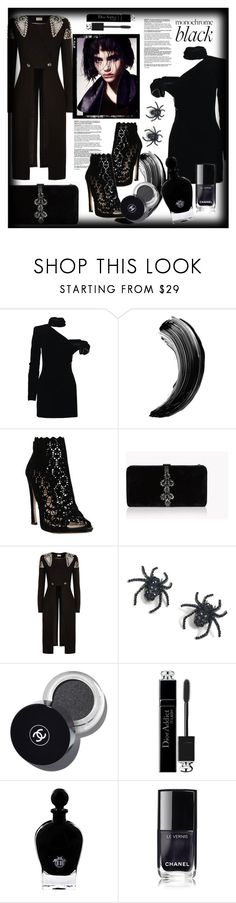 """Monochrome: All Black Everything"" by sunflower-707 ❤ liked on Polyvore featuring Yves Saint Laurent, Sophia Kah, Dsquared2, Temperley London, Tarina Tarantino, Christian Dior, EB Florals, Barneys New York and allblack"