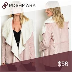 Blush jacket/coat -vegan suede Gorgeous faux suede with sherpa lining open front coat.  Lovely blush/nude pink color is super trendy this year😍. Material: 100% polyester Jackets & Coats