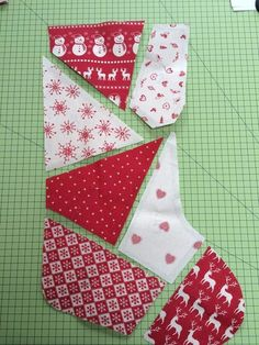 to Make a Patchwork Christmas Stocking 7 shapes with seam allowance shown Quilted Christmas Stockings, Christmas Patchwork, Christmas Stocking Pattern, Xmas Stockings, Christmas Crafts, Christmas Ornaments, Christmas Quilting, Christmas Gift Tags, Homemade Christmas
