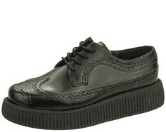 Black Leather Wingtip Low Viva Creepers  - V8876 | T.U.K. Shoes