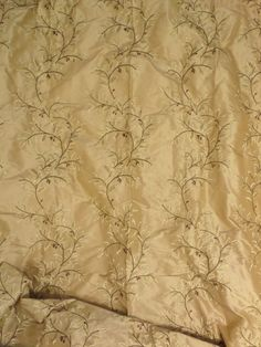 Gold Silk Floral Embroidered Astrwood Cashmere Yardage Beacon Hill Fabric + FREE SAMPLES!!! on Etsy, $21.99