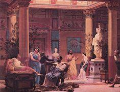 Pre Raphaelite paintings of ancient Rome.  19 cen.  Gustave Boulanger. the atrium of the maisonne pompienne