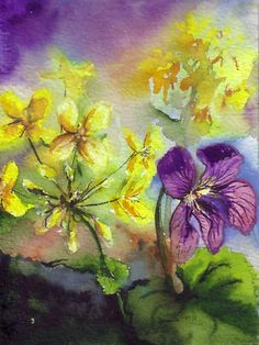 wild violet painting images | wild violet by bonniefernandez traditional art paintings landscapes ...