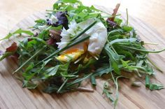 wild garlic chives rocket salad with poached egg