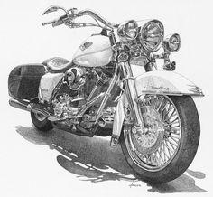 Harley Davidson Road King Custom Pen and Ink Drawing