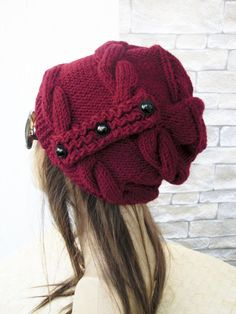 Slouchy Hat Winter Hat Knit hat - Womens Hat Burgundy Marsala red Slouchy Beanie Christmas gift from daughter Winter accessories fashion Winter Accessories, Women Accessories, Handmade Gifts For Her, England Fashion, Love Hat, Slouchy Beanie, Hats For Women, Knitted Hats, Marsala