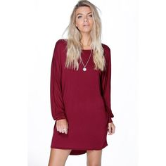 Boohoo Magda Oversized Slouch Shift Dress ($26) ❤ liked on Polyvore featuring dresses, berry, holiday dresses, body con dress, purple cocktail dress, purple cami and purple evening dresses
