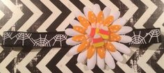 Happy Halloween !!! Whimisical Headband embellished with silk flower & candy corn.