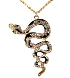 Gold and Black Rhinestone Serpent Snake Pendant w/Chain #Unbranded #Pendant