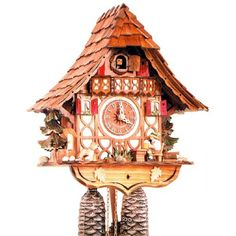 Made in the Black Forest region of Germany this cuckoo clock features a beer drinker and his dog Intricate details hand-carved and hand-painted and made from real Black Forest linden wood. 12 inch, 1-day movement. $486.00