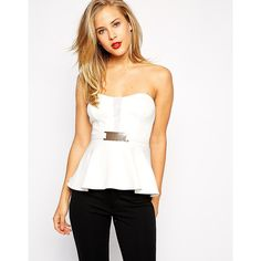 ASOS Bandeau Mesh Gold Bar Peplum Top ($15) ❤ liked on Polyvore featuring tops, cream, white mesh top, gold bandeau top, bandeau tops, zip top and white bandeau top