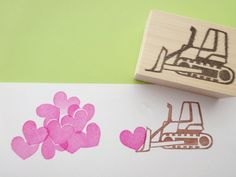 Lots of love Bulldozer stamp Kids toy by JapaneseRubberStamps
