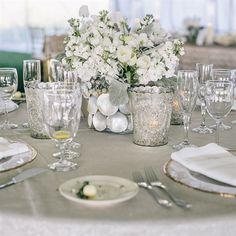 White Centerpiece in a Seashell Vase