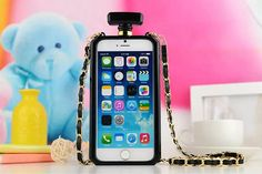 Chanel Perfume Bottle Iphone 6/6 Plus Silicone Case With Gold Chain