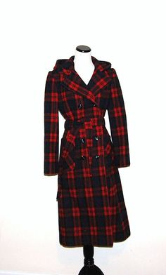 Vintage Coat Wool Red Plaid by CheekyVintageCloset on Etsy, $84.00