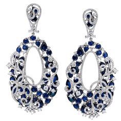 THORA Earrings in 18K White Gold with 5.30CT White Diamonds and 25.0CT Blue Sapphires
