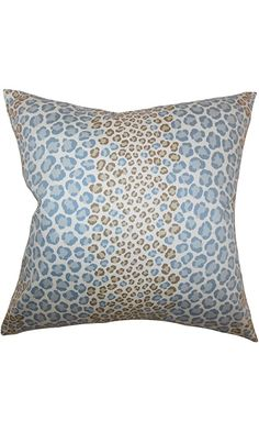 The Pillow Collection Mailys Animal Print Pillow, Blue Brown Best Price