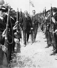 """there are some striking similarities – and some differences – between the debate on Home Rule in 1912-14, and the current debate upon Scottish independence"" --Alvin Jackson, author of The Two Unions (Edward Carson inspecting Ulster Volunteer Force. Imperial War Museums. IWM Non Commercial Licence via Wikimedia Commons.) #Scotland #Ireland #UK #indyref #history"