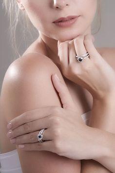 Black diamond round white diamond halo 14k white gold wedding ring set Size 8 - Ready to ship or Resize