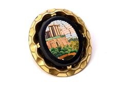 Antique Victorian Roman ruins scene micro mosaic gold filled brooch *** $200 at Pipit Vintage