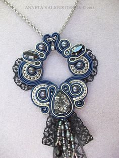 Soutache and Swarovski crystal pendant by AnnetaValious on Etsy, $185.00