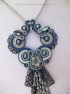 Soutache and Swarovski crystal pendant