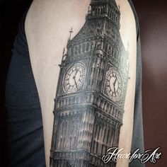 Architecture Tattoo of 'Big Ben' part of a London themed Sleeve