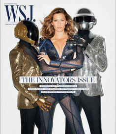 Gisele Bundchen e Daft Punk juntos na capa de revista de cultura