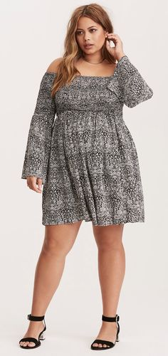 Plus Size Bell Sleeve Dress
