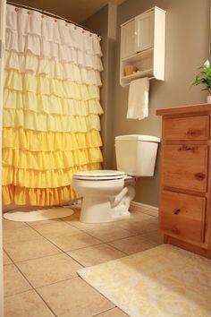 GORGEOUS home made shower curtain. So pretty.