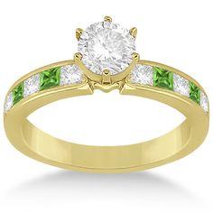 Channel Peridot & Diamond Engagement Ring 18k Yellow Gold (0.60ct) -Allurez.com
