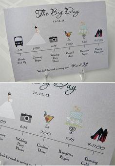 Kaartjes stappen bruiloft (voor daggasten)