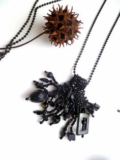 Black Forest VI, mixed media necklace.   , via Etsy.