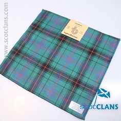 Pure wool tartan pocket square in Davidson Ancient tartan - available from ScotClans