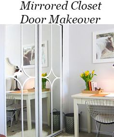How to Fake A Chandelier & A Giveaway - The Honeycomb Home Closet Door Makeover, Mirror Makeover, Staircase Makeover, Garage Makeover, Mirror Closet Doors, Mirror Door, Diy Closet Doors, Mirror House, Wall Mirrors