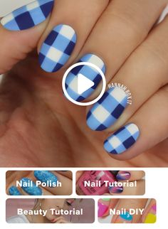 How to Get a Blue Gingham Nail Manicure darbysmart beauty nailpolish nailart naildiy naildesign nailtutorial Cute Nail Art, Nail Art Diy, Diy Nails, Cute Nails, Pretty Nails, How To Nail Art, Nail Art Blue, Nail Art Hacks, Nail Art Designs Videos