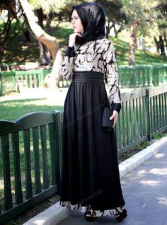 Black evening hijab dress