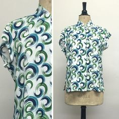 Tea Timer Top - Swirls - French Rayon Crepe