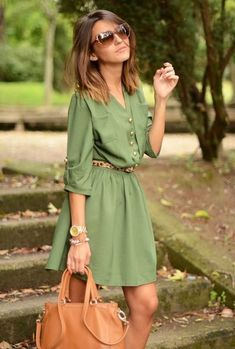 8 Pretty Office Perfect Outfits To Help You Look Forward To Your Work Week Adorable Green Dress and Look Fashion, Fashion Beauty, Autumn Fashion, Dress Fashion, Fashion Outfits, Cheap Fashion, Ladies Fashion, Spring Fashion, Looks Style