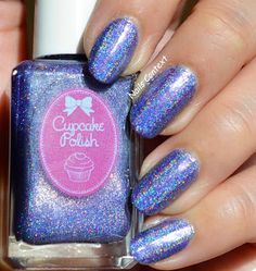 Cupcake Polish: Transformation (soft lavender holographic polish) from Butterfly Collection Gold Nail Polish, Gold Nails, White Nails, My Nails, Manicure Y Pedicure, Nail Art Brushes, Nail Patterns, Holographic Nails, Christmas Nail Art