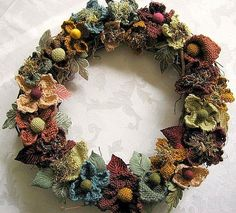 Wreath made with flowers from Weave-it squares!