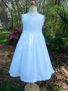 This would match the other flower girl dress.  First Communion dress, special occasion, flower girl dress, white cotton embroidered eyelet .