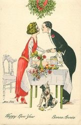 man & woman about to kiss under mistletoe hung above dinner table, dog below with wish bone Postcard Art, New Year Card, Mistletoe, Dinner Table, Men And Women, Victorian Era, Happy New Year, Kiss, Antiques
