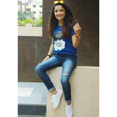 Royal Blue OK OK Printed T-shirt For Her Material : Cotton Sizes : Small,Medium,Large,X-large Price : with Delivery Contact WhatsApp : / Western Dresses, Western Outfits, Stylish Girls Photos, Girl Photos, Insta Outfits, Girl Photo Shoots, Cute Photography, Cute Girl Photo, Beautiful Girl Image