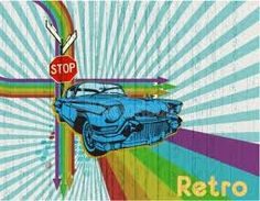 retro, car, rainbow, stop sign, street signs