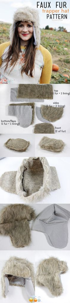 Real or faux fur trapper hat pattern Diy Pullover, Alter Pullover, Diy Clothing, Sewing Clothes, Winter Diy, Winter Ideas, Winter Craft, Baby Winter, Diy Fashion Projects