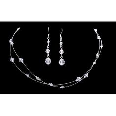 Price :$17.99 Double Stranded Clear Crystals Wedding Bridal Bridesmaid Necklace Set Material Used : Genuine Swarovski Clear 4mm 6mm bicone Crystals for Necklace Color : Clear Necklace Length : 16 inches with 2 inches extension Earrings Length : 1 inch long