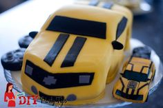 Transformers Bumblebee Cake by Lola's DIY Party Tips