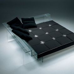 Futuristic Furniture, Glass Bed and Sofa by Santambrogio Milano