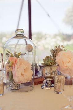 Small arrangement in mercury glass vessel under glass cloche. Photo by http://carliestatsky.com, floral design by http://flowerwild.com